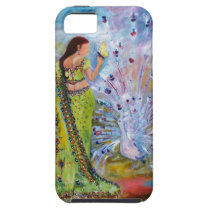india, indian woman, peacock, white peacock, butterfly, sari, woman in sari, feminine, fantasy, magical, green, lime green, ginette, indian culture, [[missing key: type_casemate_cas]] com design gráfico personalizado