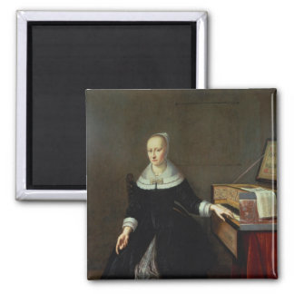 Woman by a Virginal 2 Inch Square Magnet