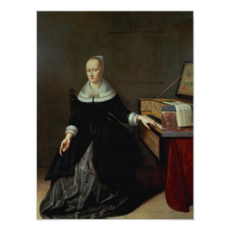 Woman by a Virginal Poster