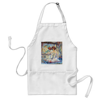 Woman By Mirror Reflections Impressionism painting Adult Apron