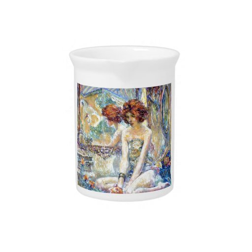 Woman By Mirror Reflections Impressionism painting Beverage Pitchers