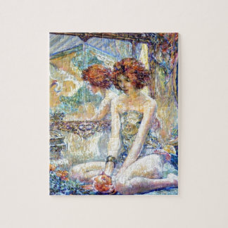 Woman By Mirror Reflections Impressionism painting Puzzle