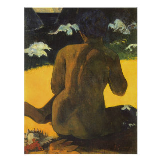Woman by the Sea by Paul Gauguin, Vintage Fine Art Poster