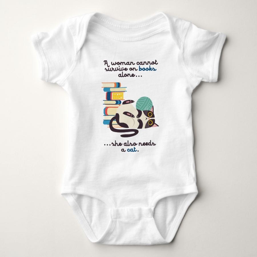 Woman Can't Survive Books Cat Bookworm Book Lover Baby Bodysuit - Adorable Baby Bodysuit Designs