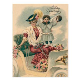 Woman Car Cherub Angel Roses Postcard