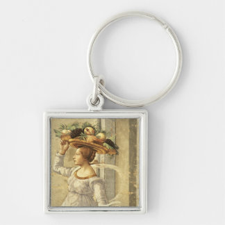 Woman carrying Fruit, from the Birth of St. John t Silver-Colored Square Keychain