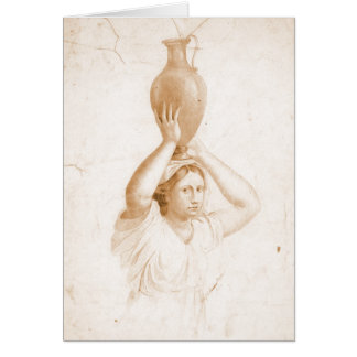 Woman Carrying Jug 1820 Card