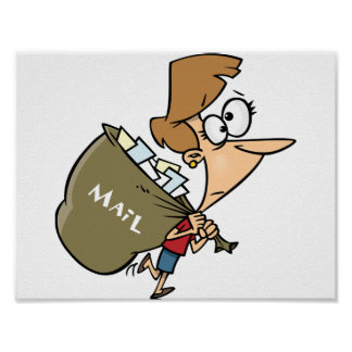 Woman Carrying Mailbag Poster
