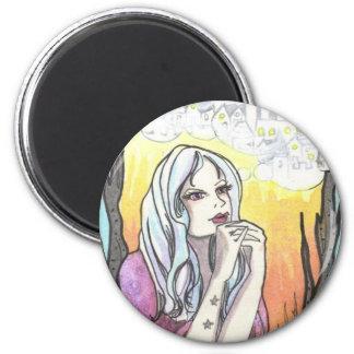Woman + Castle fantasy art illustration magnets