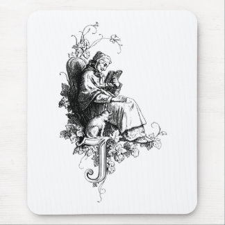 Woman, Cat and Letter I or J Mouse Pad