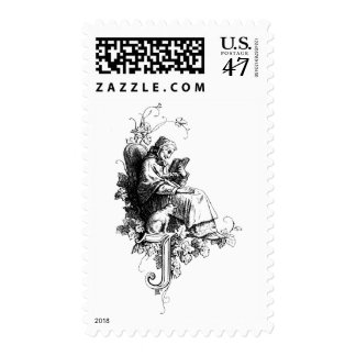 Woman, Cat and Letter I or J Postage