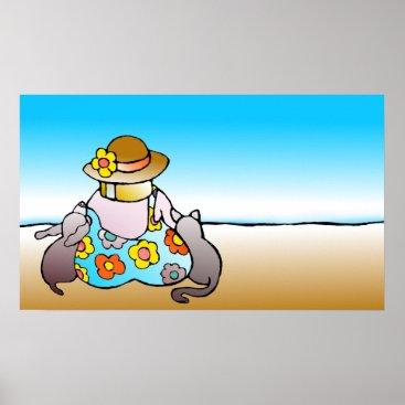 Beach Themed Woman, cat, dog, sea - Frau, Katze, Hund am Meer Poster