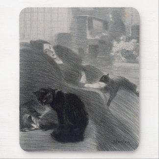 Woman & Cats, Alexandre Steinlen Mouse Pad