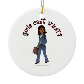 Woman CEO in Business Suit Double-Sided Ceramic Round Christmas Ornament