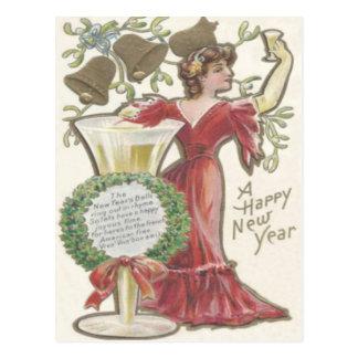 Woman Champagne Flute Bell Holly Wreath Mistletoe Postcard