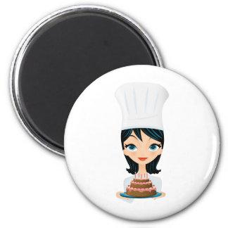 Woman chef Birthday cake 2 Inch Round Magnet