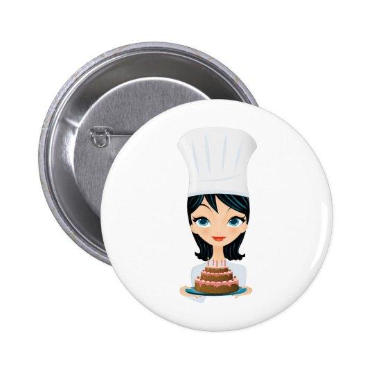Woman chef Birthday cake Pinback Button