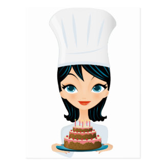 Woman chef Birthday cake Postcard