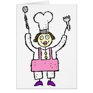 Woman Chef with grilling hat tools card