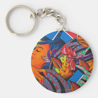 Woman & Chicken Wall Mural Keychain