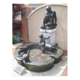 Woman, Child, and Ducks Fountain Postcard