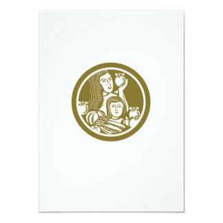 Woman Child Holding Apples Fruits Vegetables Circl 4.5x6.25 Paper Invitation Card