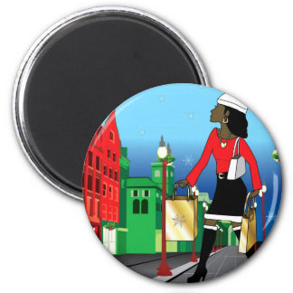Woman Christmas shopping with bags dressed fashion 2 Inch Round Magnet