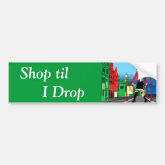 Woman Christmas shopping with bags dressed fashion Bumper Sticker