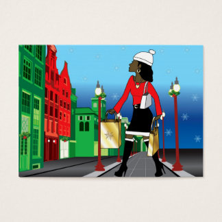 Woman Christmas shopping with bags dressed fashion Business Card