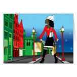 Woman Christmas shopping with bags dressed fashion Cards