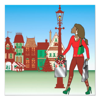 Woman Christmas shopping with bags dressed fashion Card
