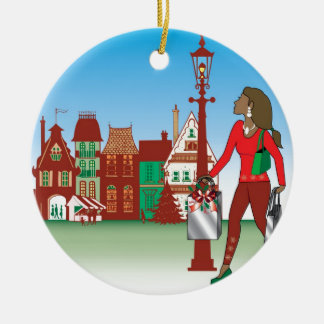 Woman Christmas shopping with bags dressed fashion Ceramic Ornament