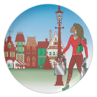 Woman Christmas shopping with bags dressed fashion Dinner Plate