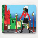 Woman Christmas shopping with bags dressed fashion Mouse Pad