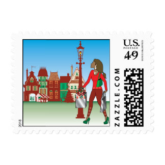Woman Christmas shopping with bags dressed fashion Stamps