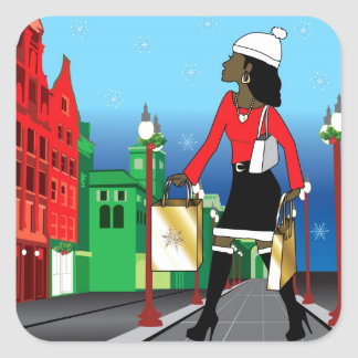 Woman Christmas shopping with bags dressed fashion Square Sticker