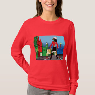 Woman Christmas shopping with bags dressed fashion T-Shirt