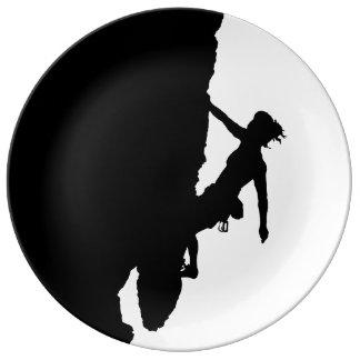 woman climbing plate
