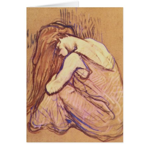 Woman Combing her Hair by Henri de Toulouse-Lautre Greeting Cards