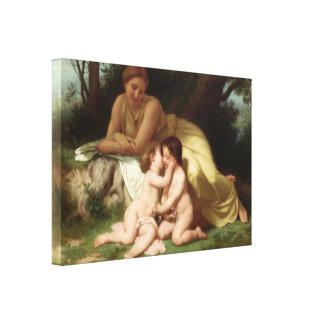 Woman Contemplating Children by Bouguereau Canvas Print