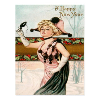 Woman Costume Party Holly Snow Postcard