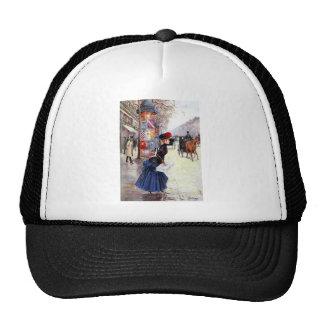 Woman crossing street in Paris Trucker Hat