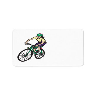 Woman Cycling Label