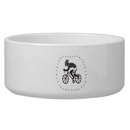 Woman Cyclist Pet Food Bowls