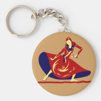 Woman Dancer With Long Red Dress Key Chain  Gift