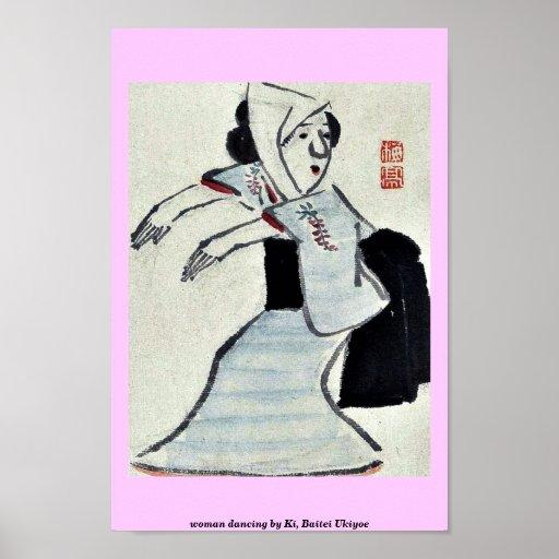 woman dancing by Ki, Baitei Ukiyoe Poster