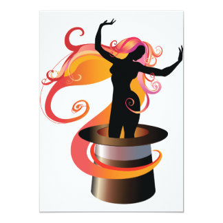 Woman Dancing In A Top Hat Invitations