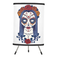 Woman Day of the Dead Tripod Lamp