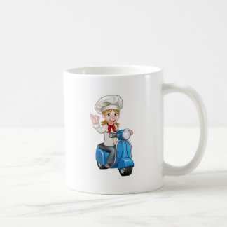 Woman Delivery Scooter Female Chef Coffee Mug