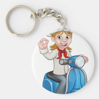 Woman Delivery Scooter Female Chef Keychain